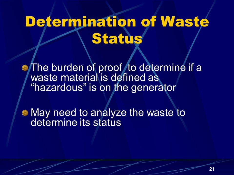 Determination of Waste Status