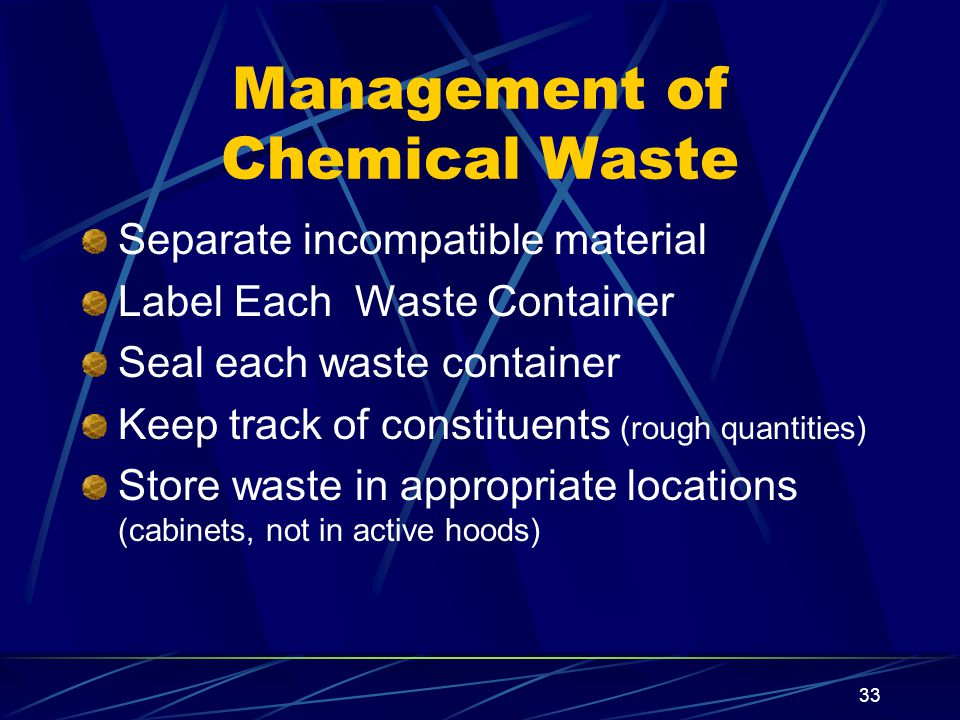 Management of Chemical Waste