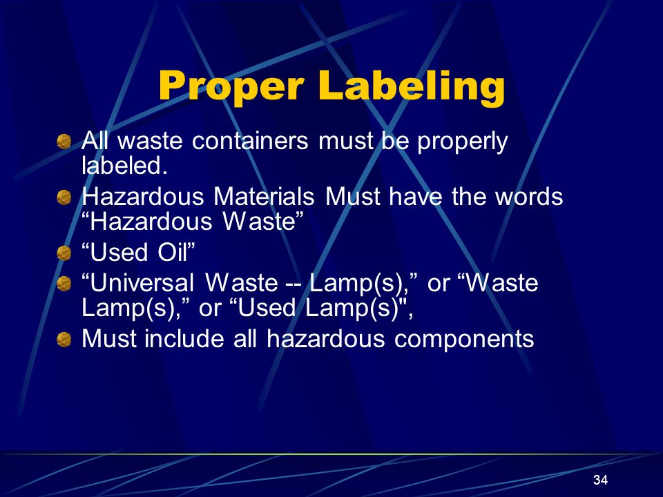 Proper Labeling All waste containers must be properly labeled.