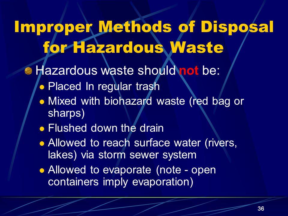 Improper Methods of Disposal for Hazardous Waste