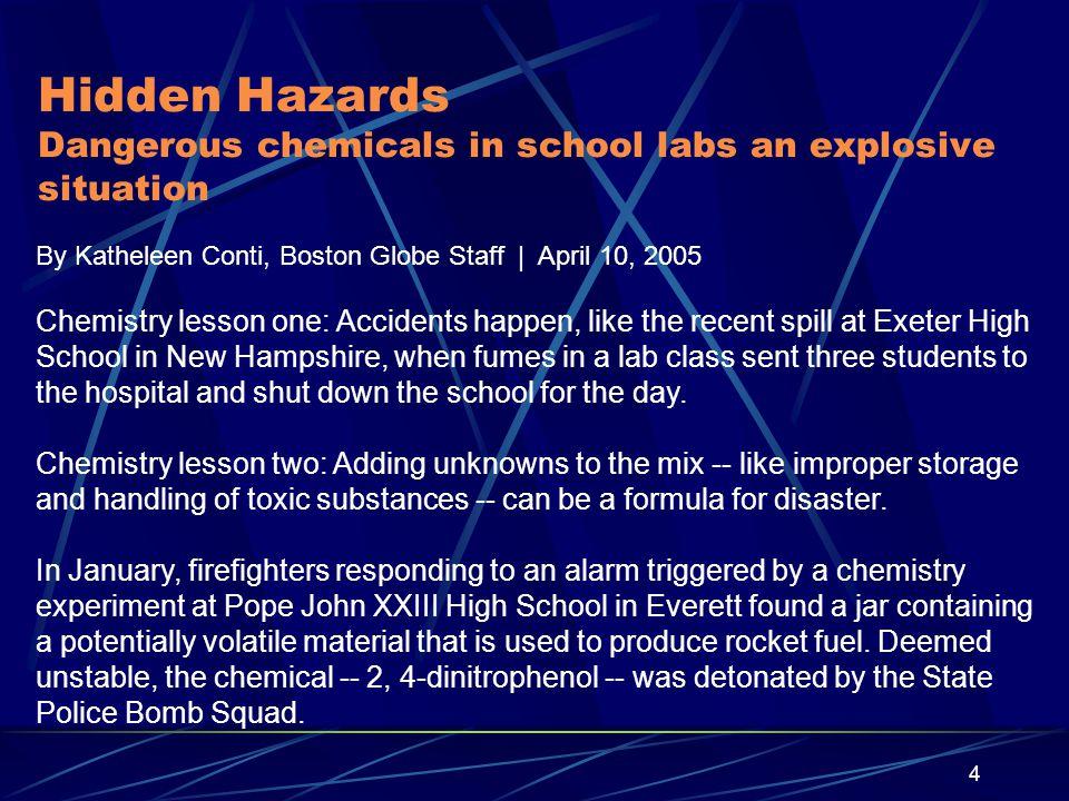 Hidden Hazards Dangerous chemicals in school labs an explosive situation