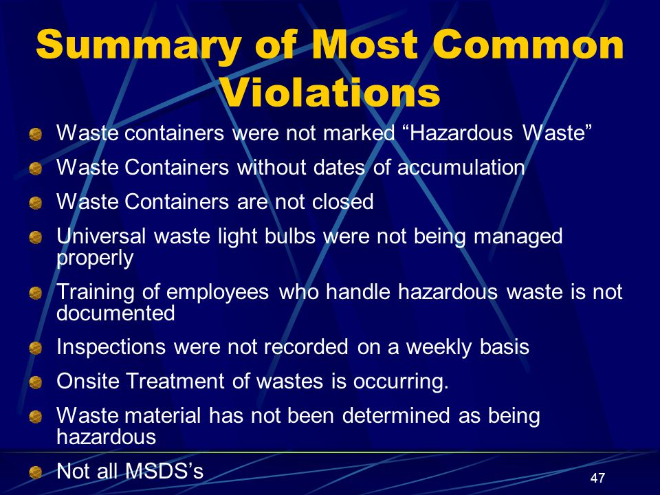Summary of Most Common Violations