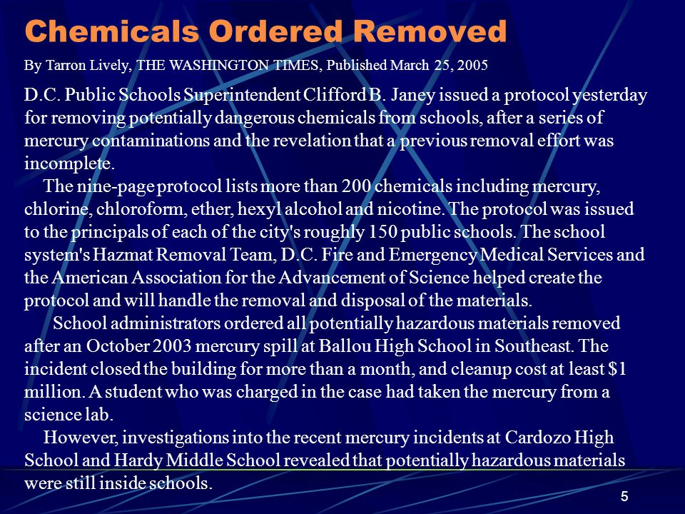 Chemicals Ordered Removed