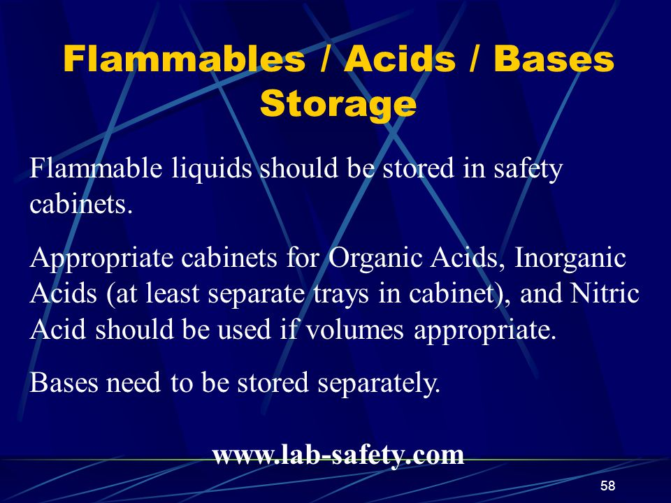 Flammables / Acids / Bases Storage