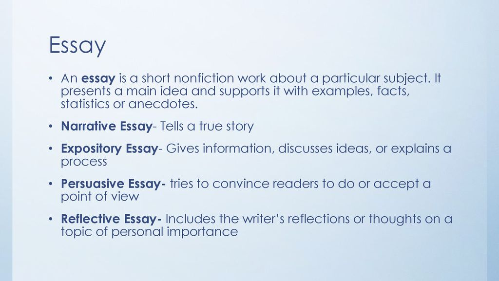 A short nonfiction work about a particular subject what is a narrative essay