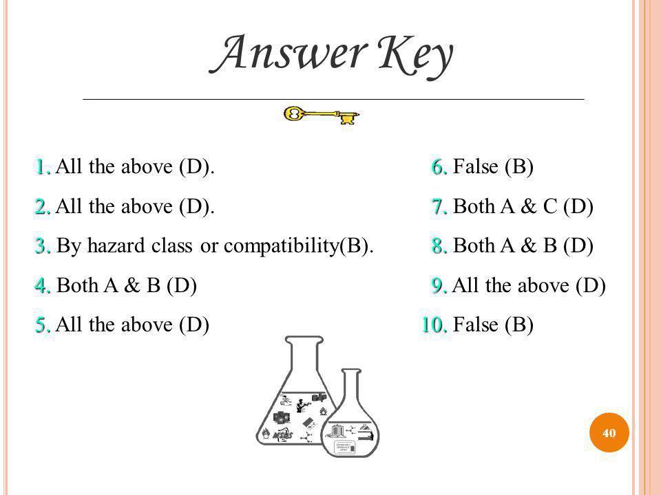 Answer Key 1. All the above (D). 6. False (B)