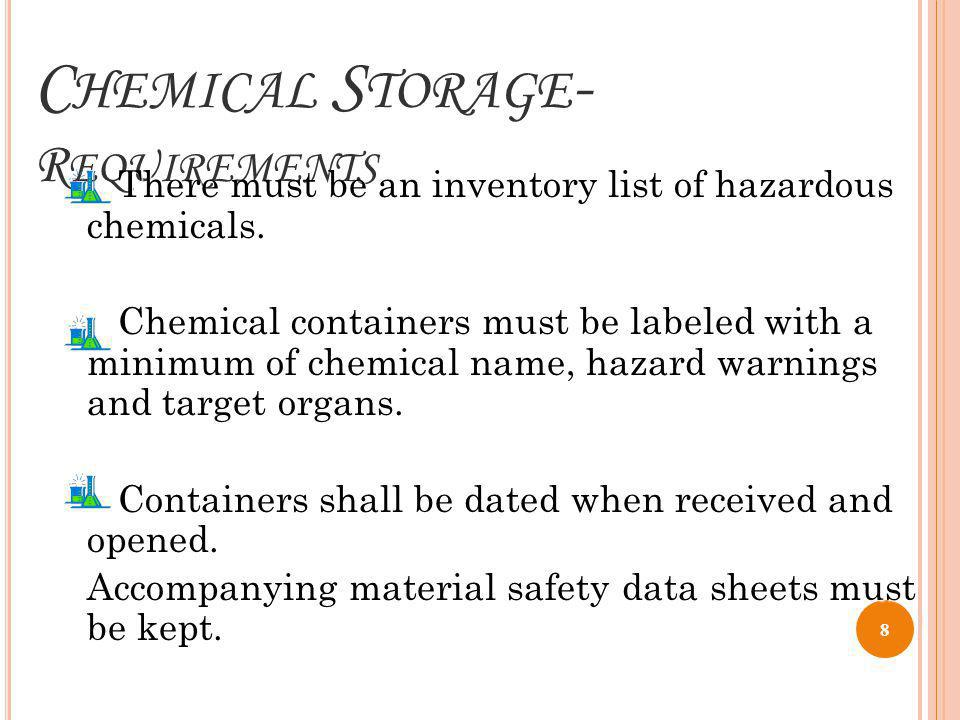 Chemical Storage- Requirements