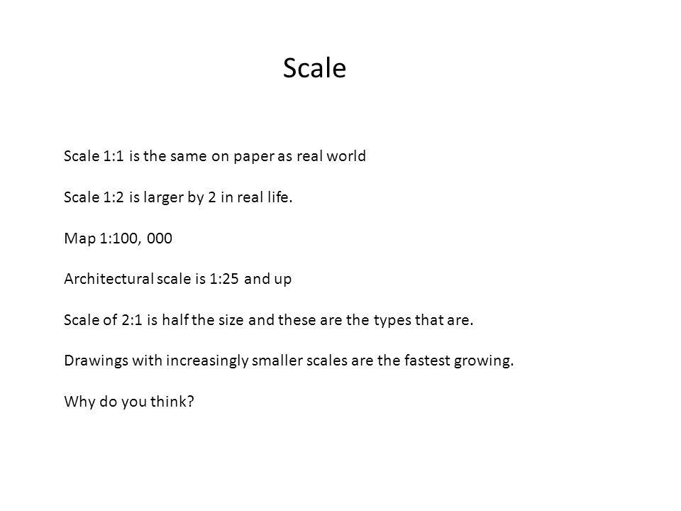 Scale Scale 1:1 is the same on paper as real world