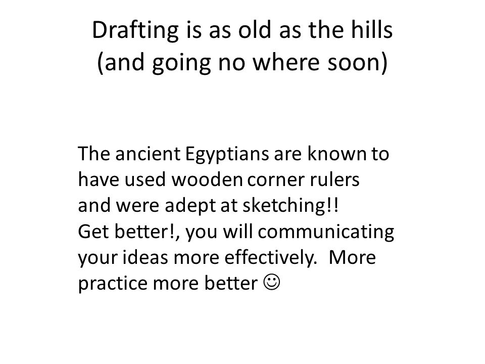 Drafting is as old as the hills (and going no where soon)