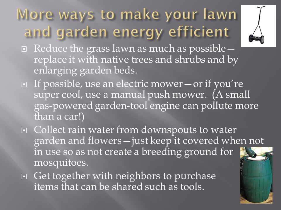 More ways to make your lawn and garden energy efficient