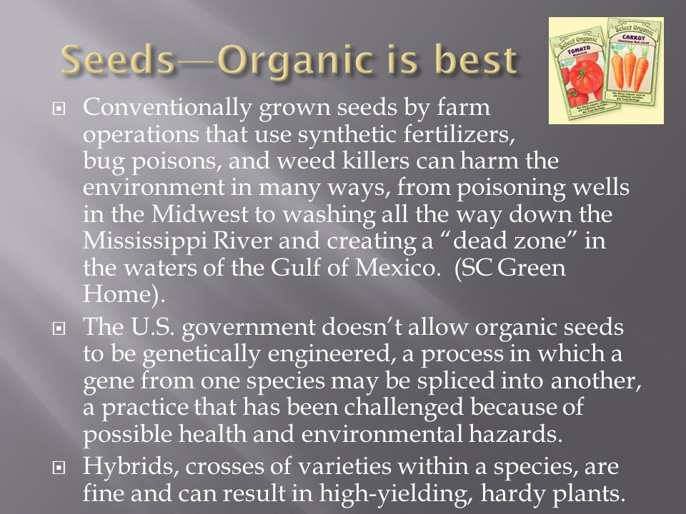Seeds—Organic is best