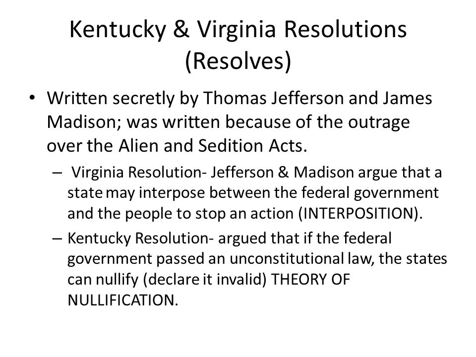 Kentucky & Virginia Resolutions (Resolves)