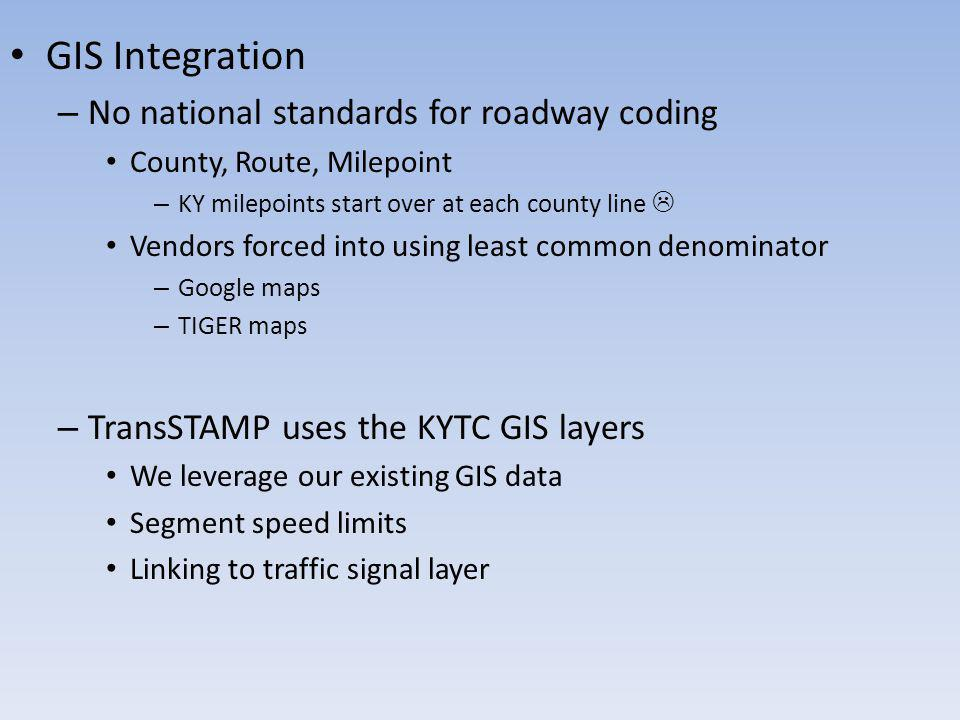 GIS Integration No national standards for roadway coding