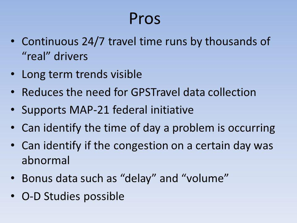 Pros Continuous 24/7 travel time runs by thousands of real drivers