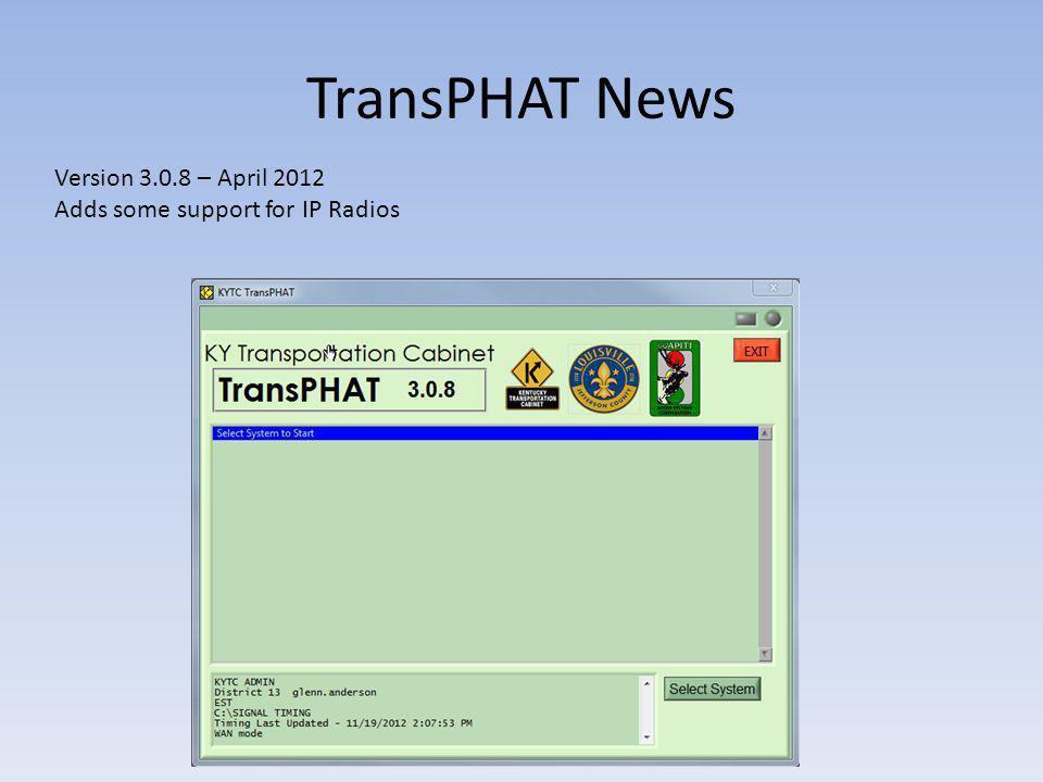 TransPHAT News Version 3.0.8 – April 2012