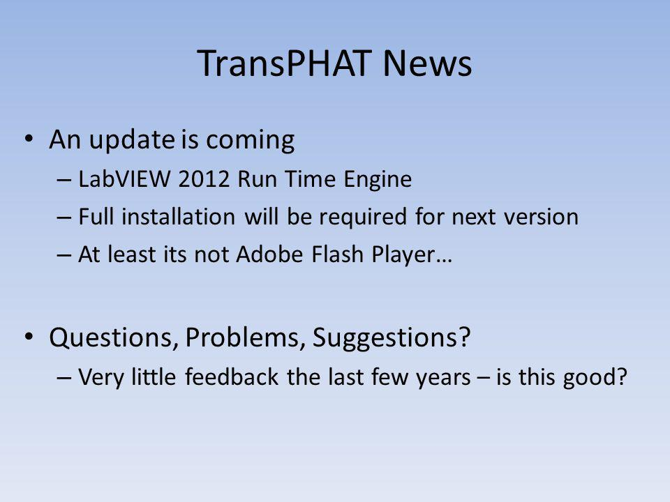TransPHAT News An update is coming Questions, Problems, Suggestions