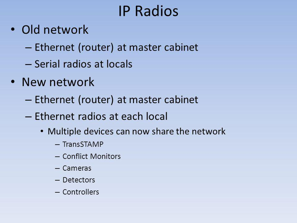 IP Radios Old network New network Ethernet (router) at master cabinet