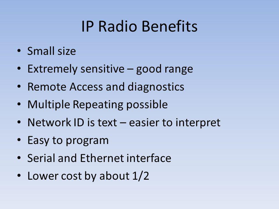 IP Radio Benefits Small size Extremely sensitive – good range