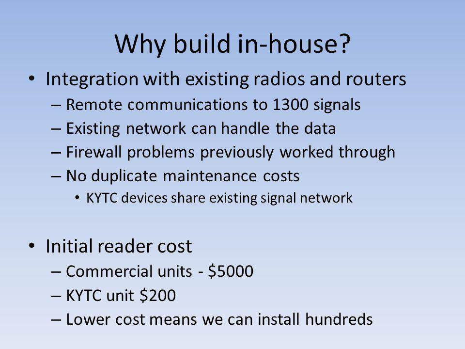 Why build in-house Integration with existing radios and routers