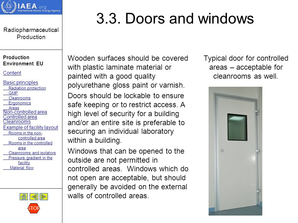 Typical door for controlled areas – acceptable for cleanrooms as well.