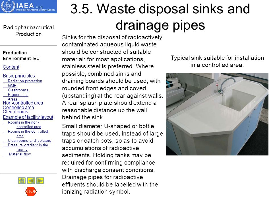3.5. Waste disposal sinks and drainage pipes