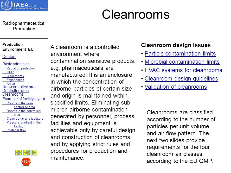 Cleanrooms Cleanroom design issues