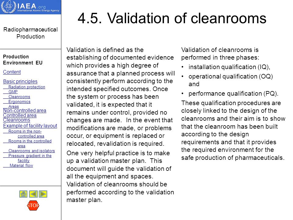 4.5. Validation of cleanrooms
