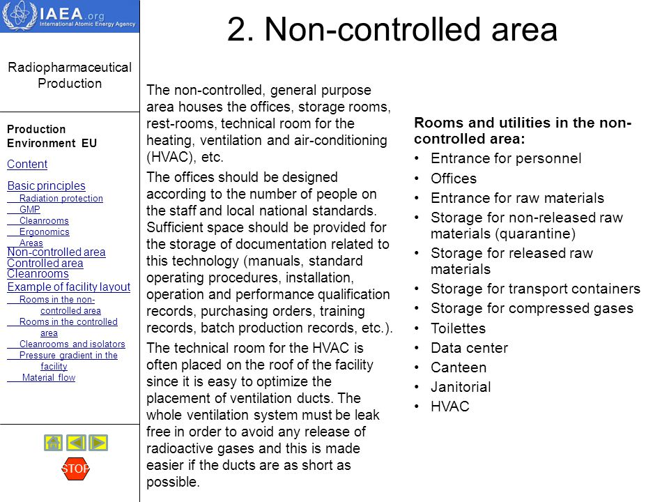 2. Non-controlled area Rooms and utilities in the non-controlled area:
