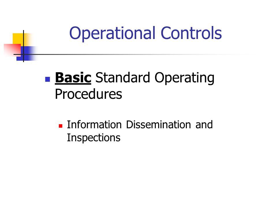 Operational Controls Basic Standard Operating Procedures