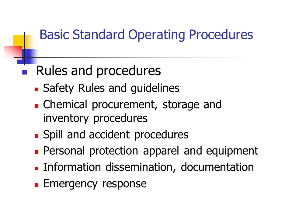 Basic Standard Operating Procedures