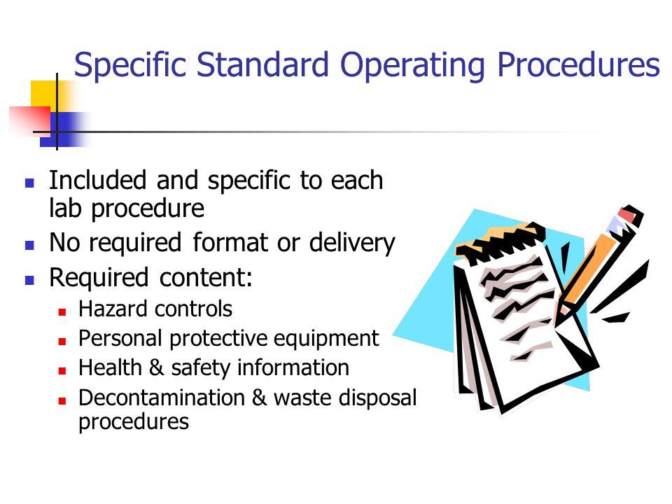 Specific Standard Operating Procedures