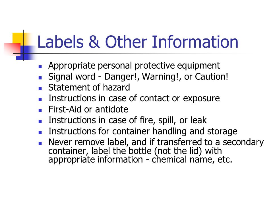 Labels & Other Information