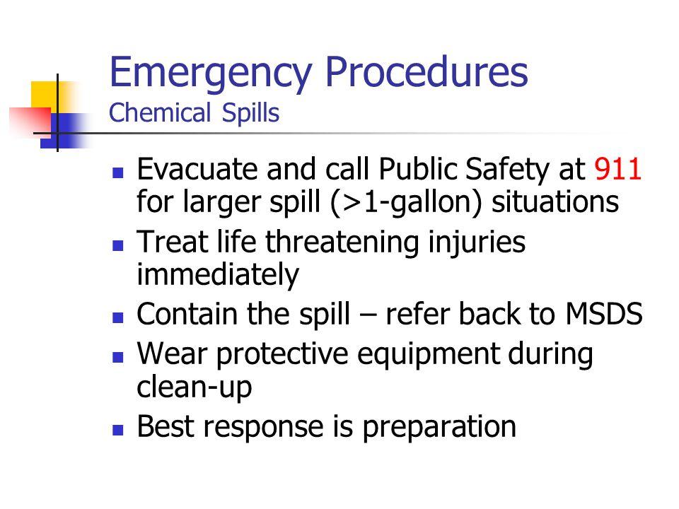 Emergency Procedures Chemical Spills