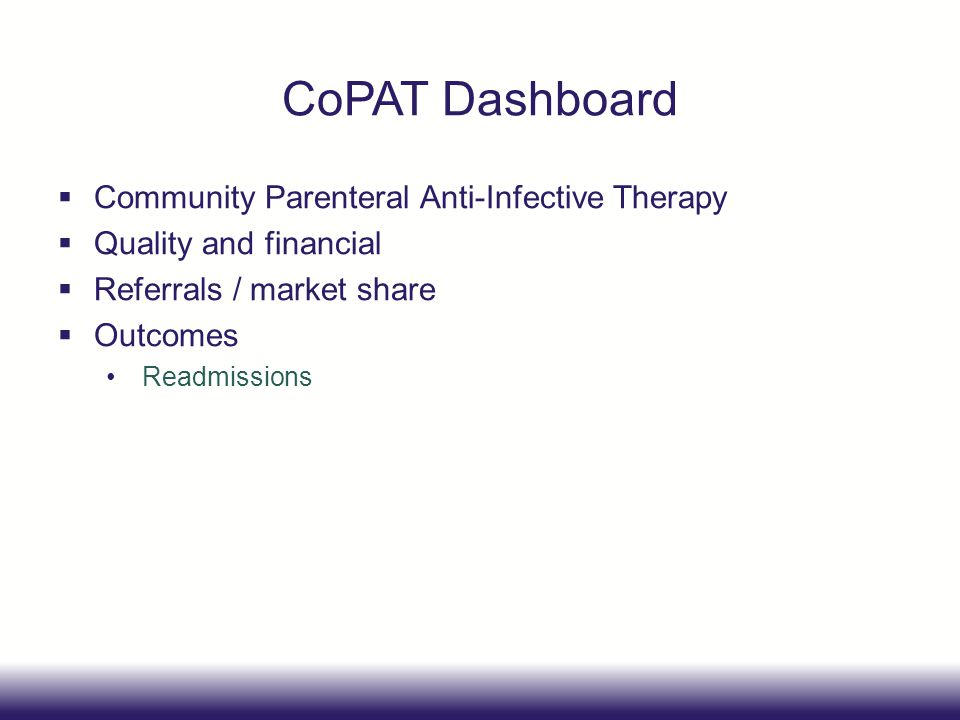 CoPAT Dashboard Community Parenteral Anti-Infective Therapy