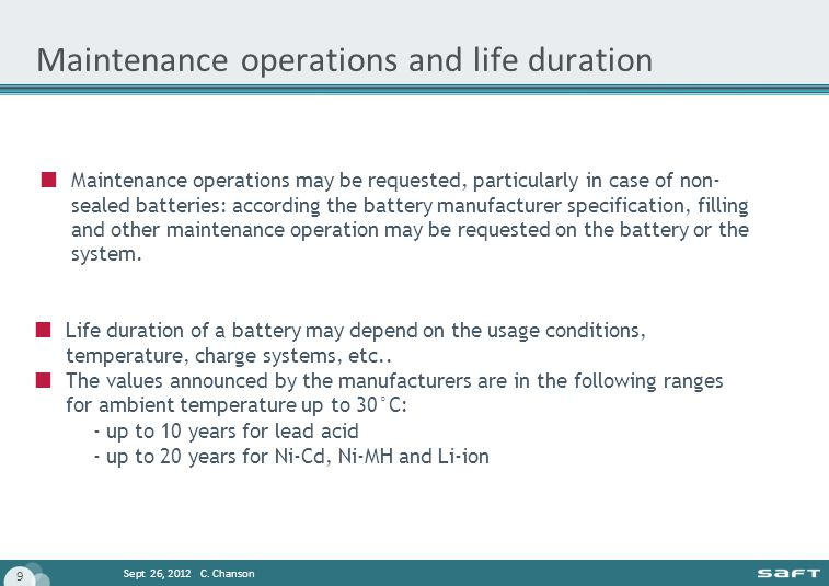 Maintenance operations and life duration