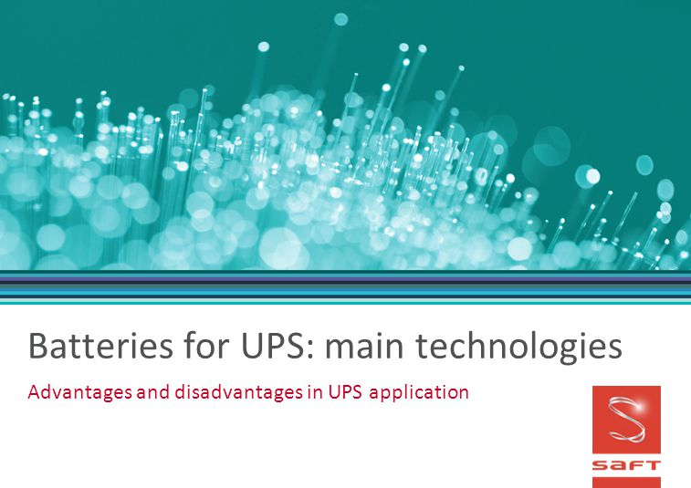 Batteries for UPS: main technologies
