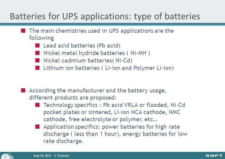 Batteries for UPS applications: type of batteries