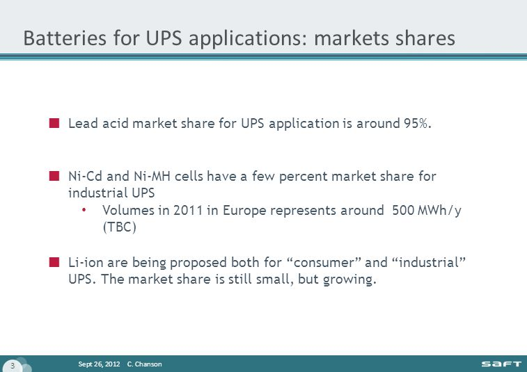 Batteries for UPS applications: markets shares