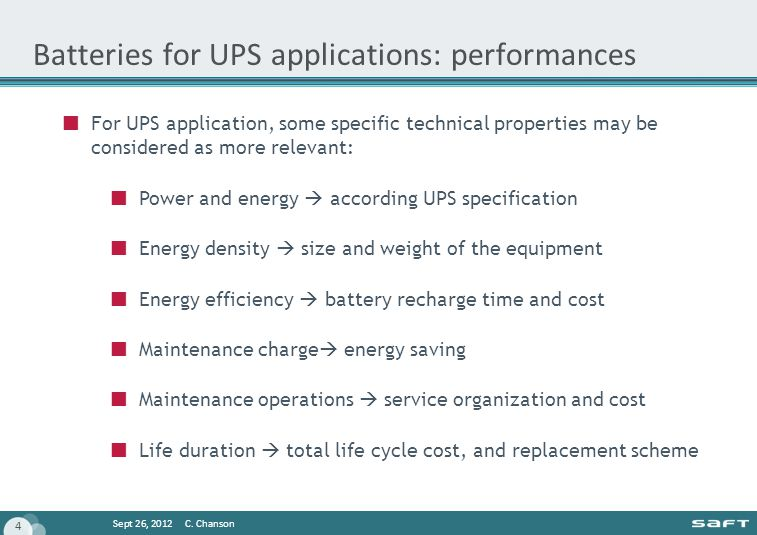 Batteries for UPS applications: performances