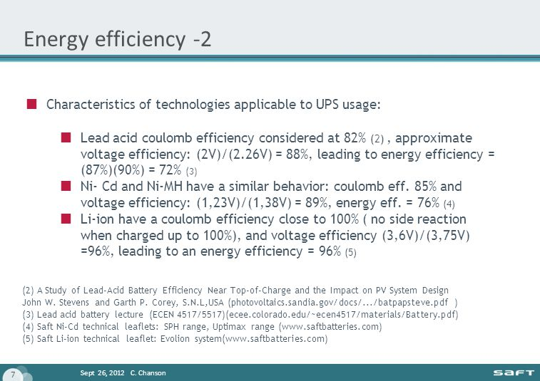Energy efficiency -2 Characteristics of technologies applicable to UPS usage: