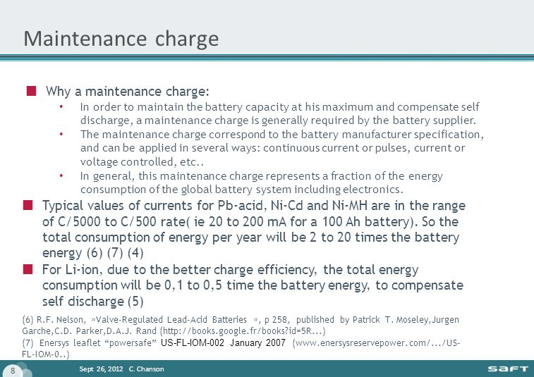 Maintenance charge Why a maintenance charge:
