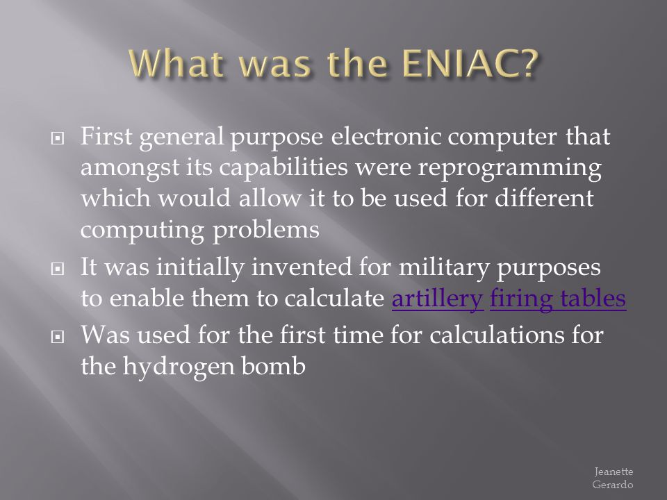 What was the ENIAC