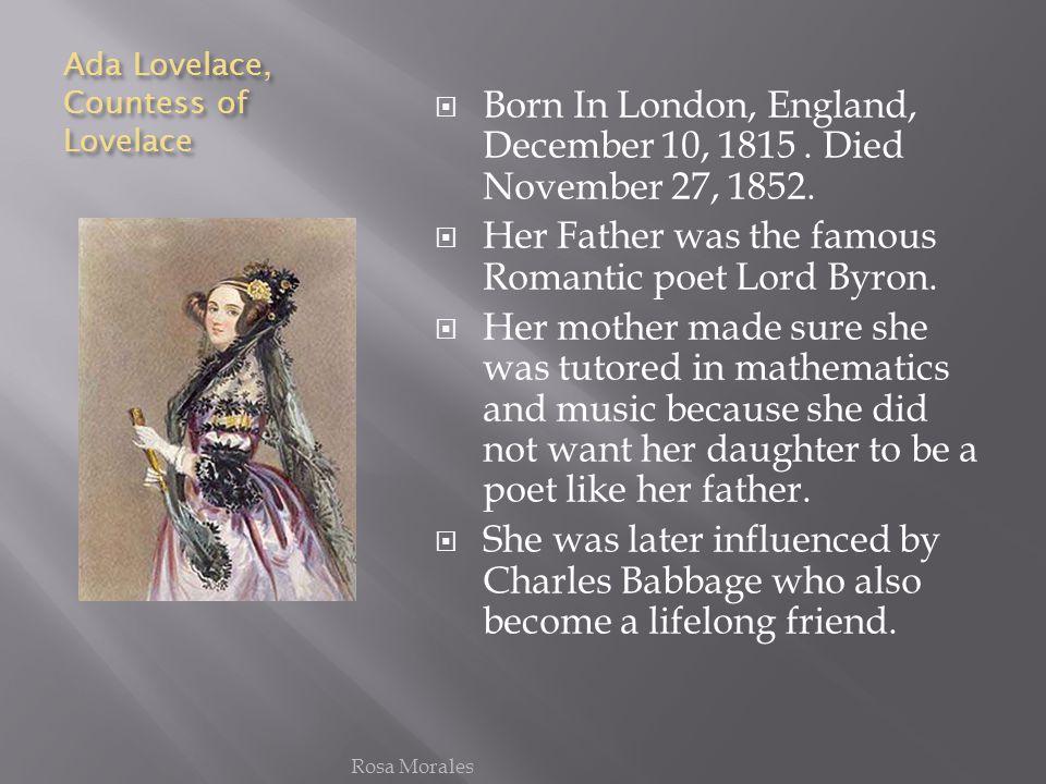 Ada Lovelace, Countess of Lovelace