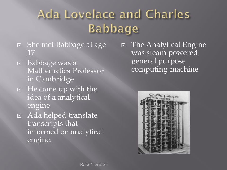 ada lovelace meets charles babbage Baker & taylorpresents an alternate history in which charles babbage and ada, countess of lovelace meet victorian london the thrilling adventures of lovelace.