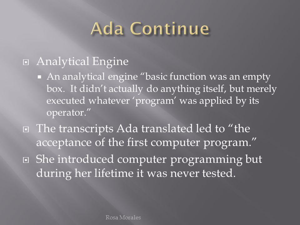 Ada Continue Analytical Engine