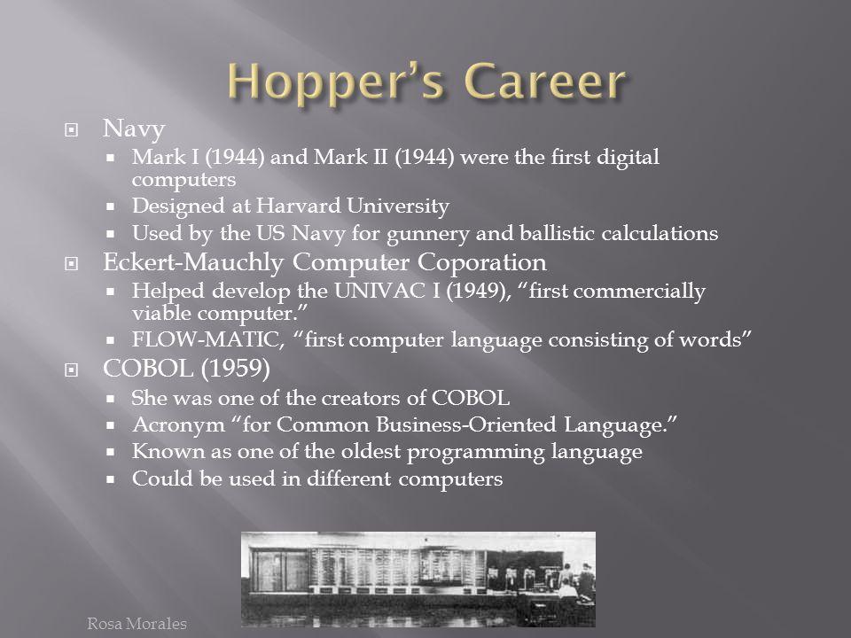 Hopper's Career Navy Eckert-Mauchly Computer Coporation COBOL (1959)