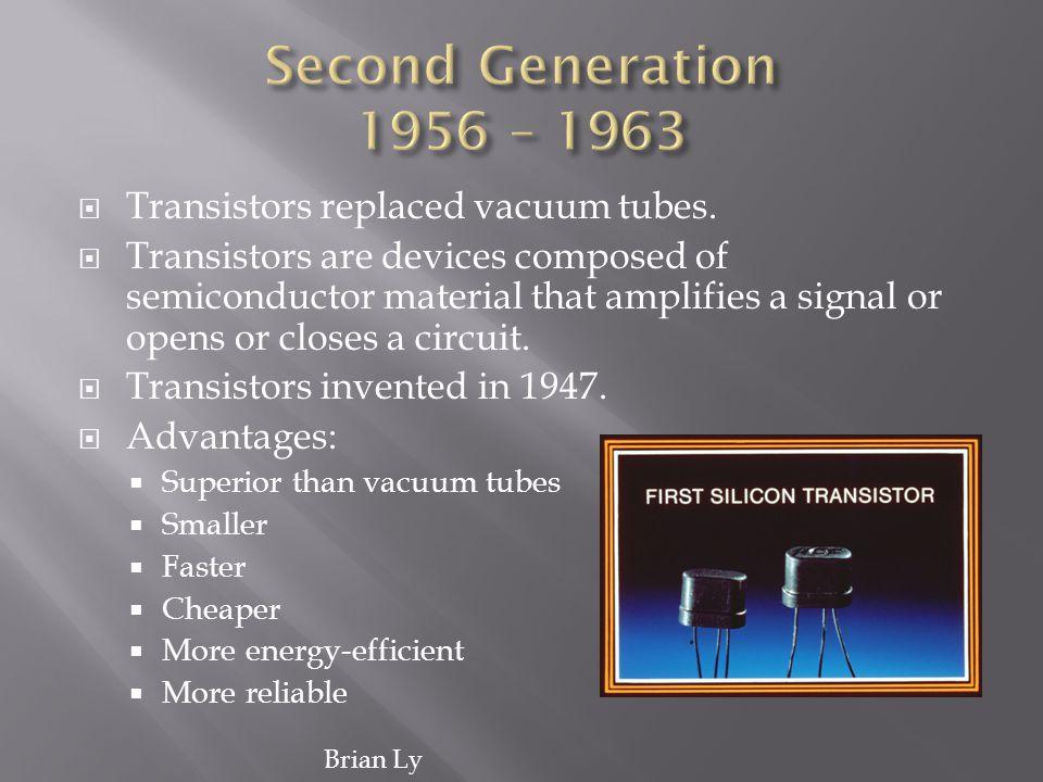 Second Generation 1956 – 1963 Transistors replaced vacuum tubes.