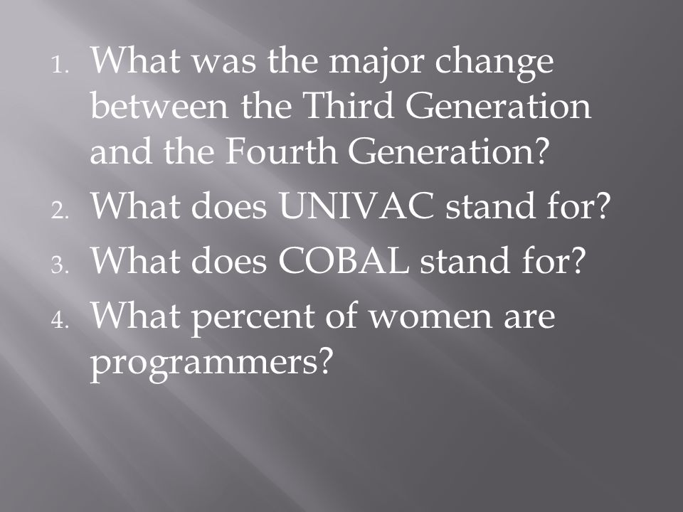 What was the major change between the Third Generation and the Fourth Generation