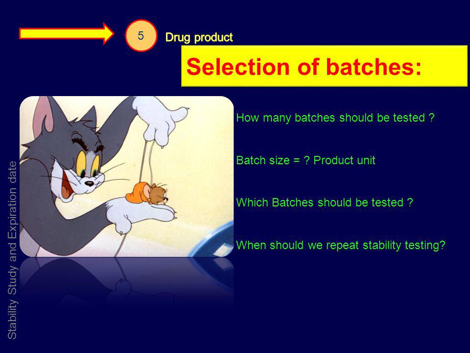 Selection of batches: 5 Drug product