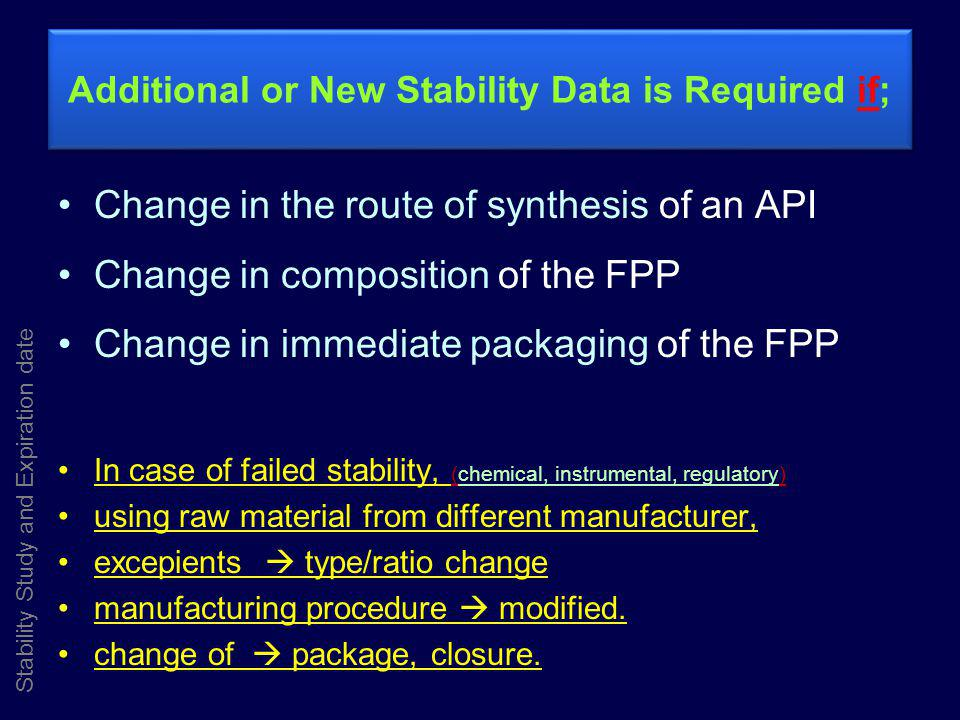 Additional or New Stability Data is Required if;